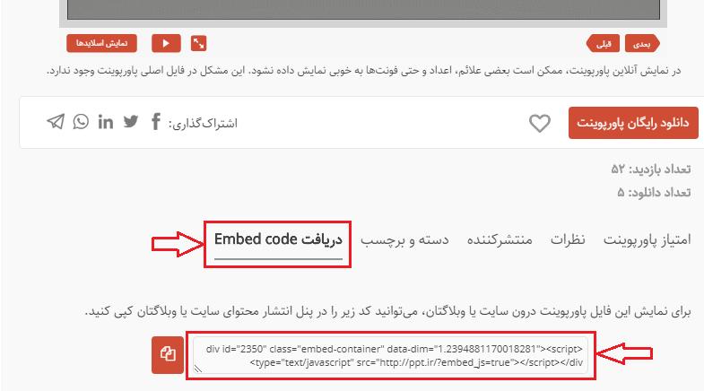 جایگاه امبد کد درون سایت در زیر بخش نمایش هر پاورپوینت است.